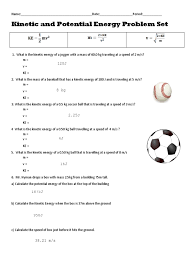 worksheet kinetic potential energy 2 answers potential energy