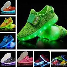 shoes with lights on the bottom 2018 new fashion breathable kids led luminous slip on sneakers usb