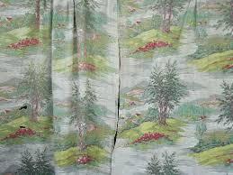 Old Curtains Barkcloth Fabric Lot Of Old Curtains Shabby Floral U0026 Farm Scenes