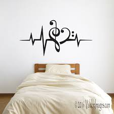 Dorm Room Wall Decor by Heartbeat Music Lover Wall Decal Heart Decal Music Decal