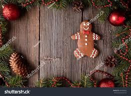 christmas gingerbread man cookie composition fir stock photo