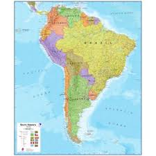 south america map buy political south america wall map central and southamerica
