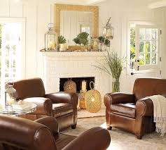 Pottery Barn Leather Couch Pottery Barn Living Room With White Mirror And Fireplace Also
