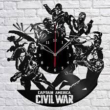 Captain America Decor Captain America Vinyl Record Wall Clock Avengers Fan Gift Idea For