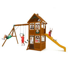 outdoor wonderful cedar summit playset for charming kids
