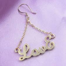 Personalized Name Earrings Real Gold Color Plating Personalized Triangle Name Earrings