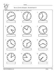 telling time to the nearest minuteworksheets