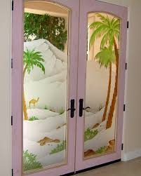 desert palms ii in color glass door inserts sans soucie