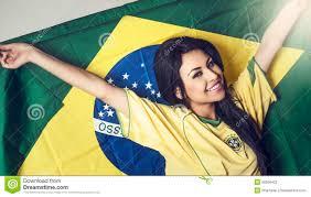 Cool Brazil Flag Woman Wearing Brazil Soccer Shirt Stock Photo Image 39256422
