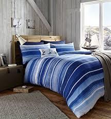catherine lansfield coastal stripe king duvet set nautical
