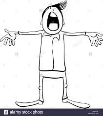 black and white cartoon illustration of singing kid or teen boy