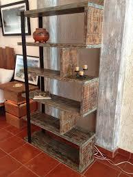 Industrial Bookcases Rustic Industrial Free Standing Bookshelf U2013 Unique Wood U0026 Iron