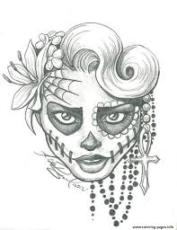 sugar skull two by leelab d4yyhdt coloring pages printable