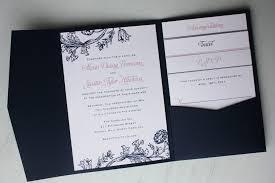 wedding invitations navy pocket fold invitations pink and navy blue floral print pocketfold
