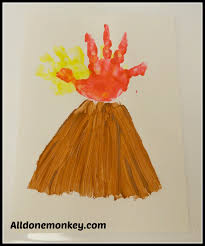hand print volcano card all done monkey