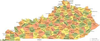 map of ky and surrounding areas kentucky county map