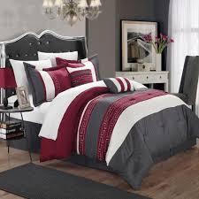 Tradewinds 7 Piece Comforter Set Carlton Burgundy Grey U0026 White King 6 Piece Comforter Bed In A Bag