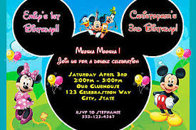 mickey mouse and minnie mouse birthday invitation double party