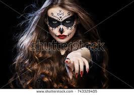 beautiful sugar skull makeup stock photo 743329405