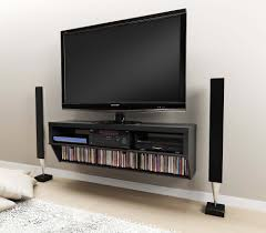 Wall Mounted Tv Unit Designs Low Varnished Wooden Tv Stand With Black White Floating Media