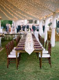 Outdoor Wedding Lights String by Farm Tables Mahogany Chiavari Chairs Father Of The Bride Tent