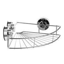 corner shelf shower basket strong suction stainless steel shelves