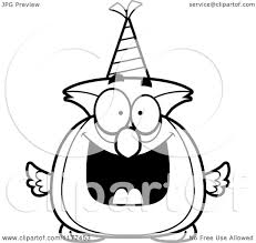 cartoon of a black and white happy birthday owl wearing a party