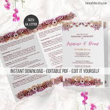 hindu wedding program editable indian wedding program printable wedding bi fold hindu