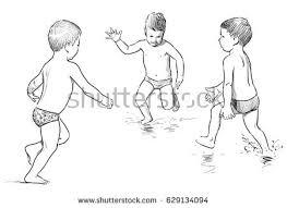 sketches children on beach stock vector 629134121 shutterstock