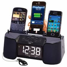 amazon com 4 port smart phone charger with speaker alarm clock