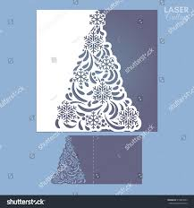 laser cut template christmas cards square stock vector 514829053