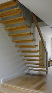 simple stright shaped modern stairs with iron banister also wooden
