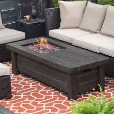 Outdoor Firepit Tables Furniture Grey Rectangle Faux Wood Patio Firepit Table For