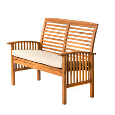 Loveseat Bench Dining Chair Brown Acacia Wood Outdoor Loveseat Bench With White Cushions