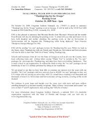 thanksgiving for the troops press release