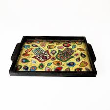 painted serving platters large decorated serving tray with a golden and colorful khamsa