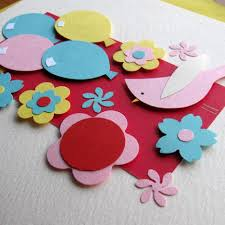 handmade flowers and balloon with paper for make birthday card to