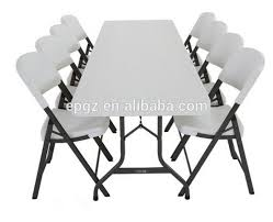 6 foot plastic table 6 seater cheap sale modern pe plastic dining table and chair