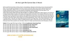all the light we cannot see audiobook all the light we cannot see a novel mp3 download audiobook trial