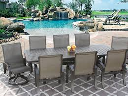 barbados sling outdoor patio 9pc dining set for 8 person with barbados sling outdoor patio 9pc dining set for 8 person with 44x102 rectangle series 4000 table antique bronze finish