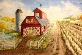 one point perspective barn watercolor painting lesson create