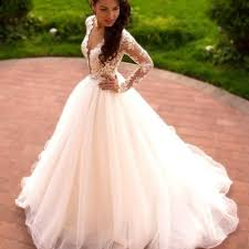 flowy wedding dresses gown lace tulle ivory wedding dresses with sleeves