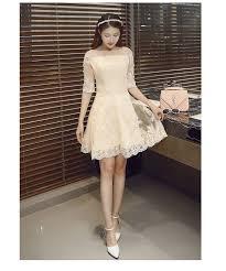 light champagne color slit neckline half sleeve prom dresses bride