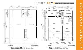 1 Storey Floor Plan by Central Town Four Storey Shophouse Kwang Tai