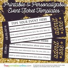 admit one gold event ticket template free printables online