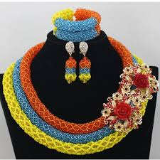 african beads necklace images New arrival 3 layers luxury multicoloured beads jewelry set niger