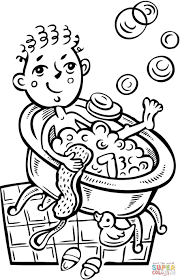 boy taking a bubble bath coloring page free printable coloring pages