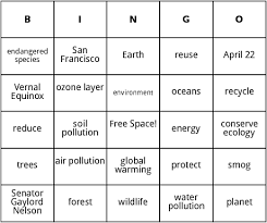 earth day bingo cards by bingo card template