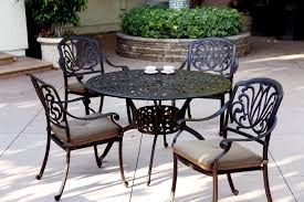 powder coated aluminum outdoor dining table patio furniture dining set cast aluminum 48 round table 5pc lisse