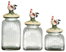 kitchen glass canisters with lids set of 3 glass canister jars sizes chicken lids country kitchen